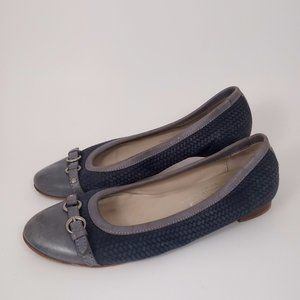 AGL 38 Blue Leather Cap Toe Flats Basket Weave